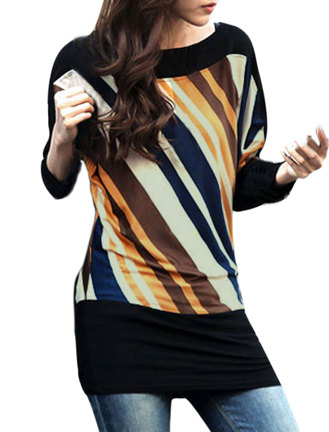 Lady Asymmetric Neck Stripes Pattern Panel Casual Top Multicolor S