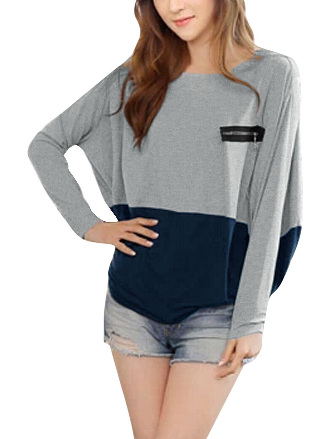 Lady Long Batwing Sleeve Color Block Tee Shirt Light Gary Navy Blue L