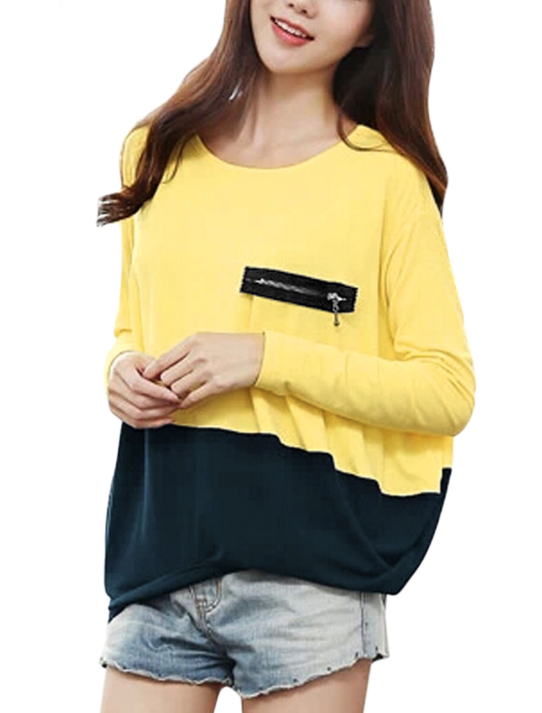 Lady Round Neck Color Block Tee Shirt Light Yellow Navy Blue L