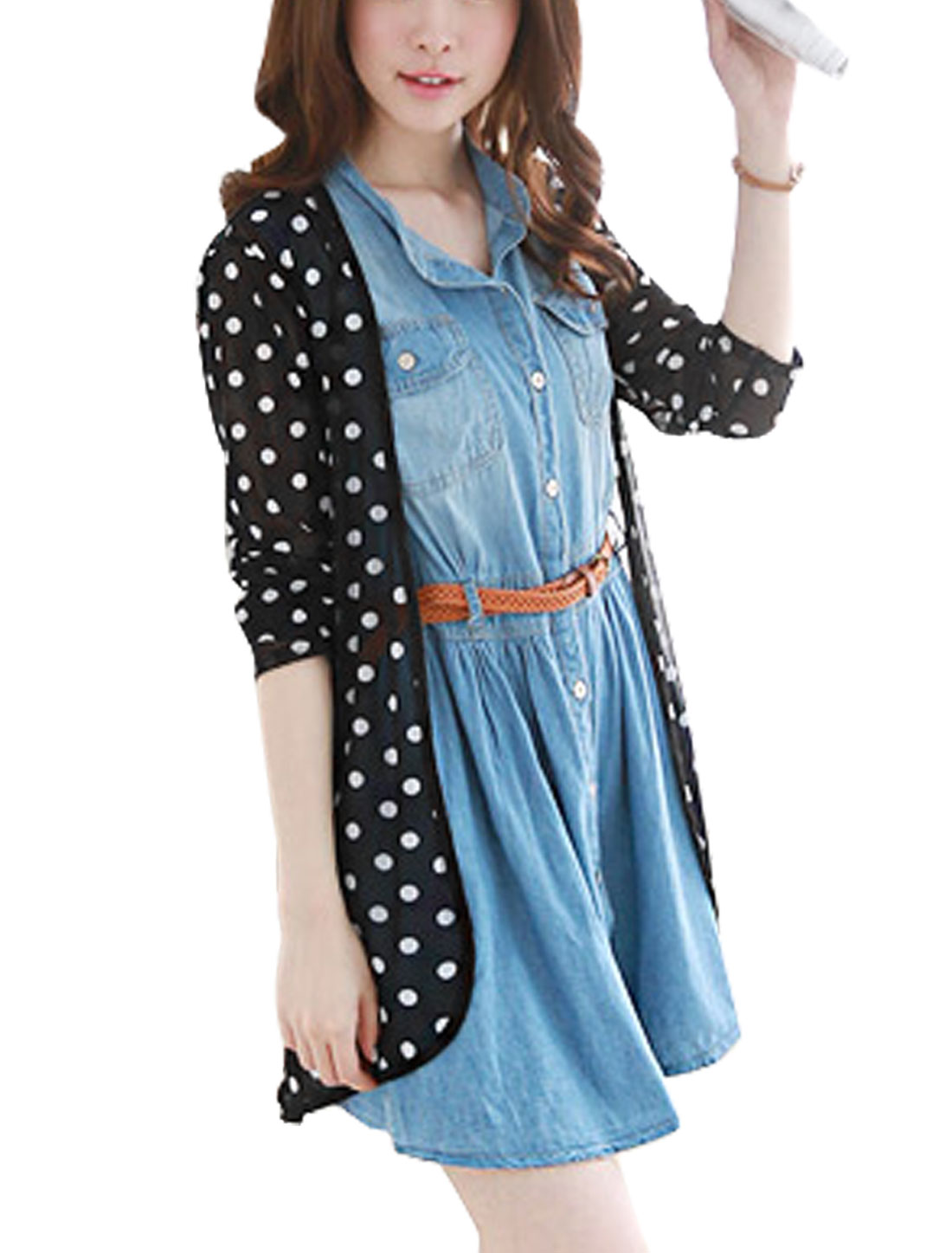 Lady Dots Pattern Long Sleeve Semi Sheer Chiffon Cardigan Black S