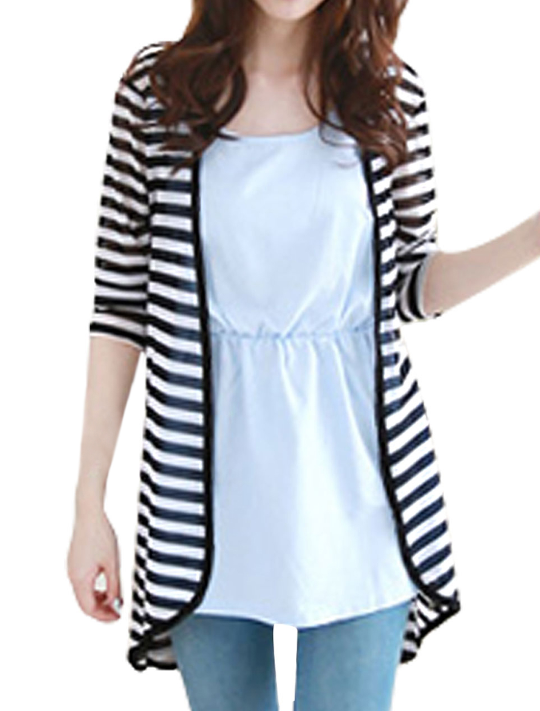 Lady Stripes Pattern Long Sleeve Semi Sheer Chiffon Cardigan S