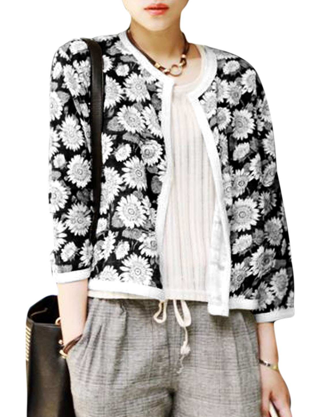 Women Contrast Knitted Trim Sunflower Pattern Casual Cardigan Black White S