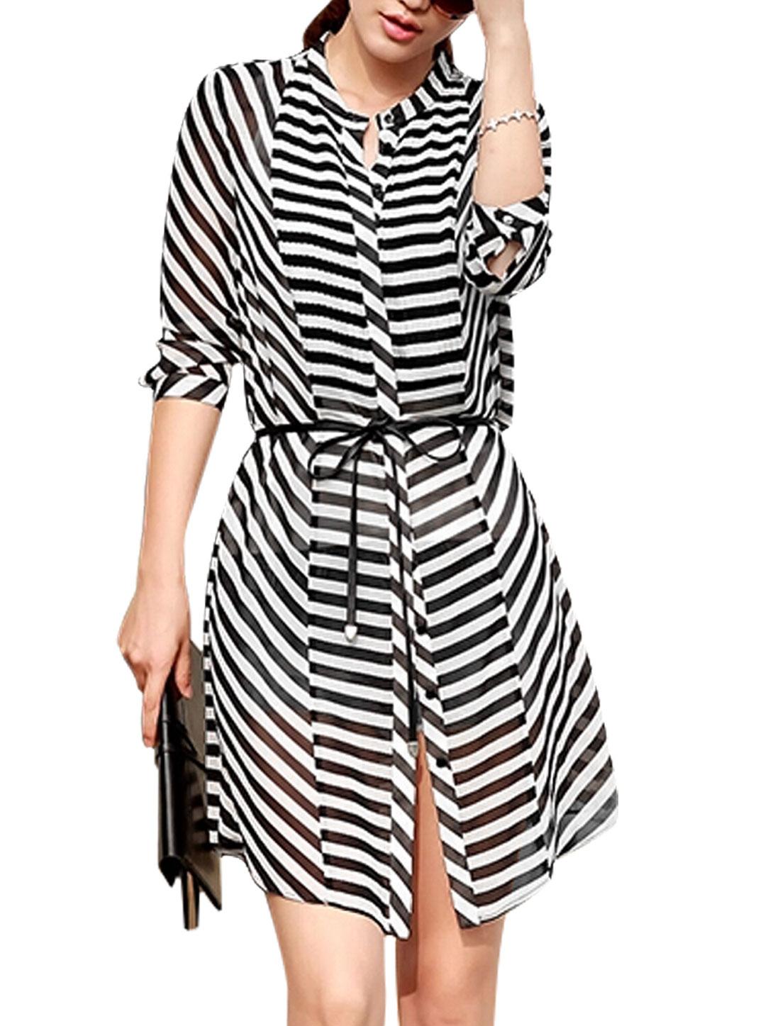Lady 3/4 Sleeve Stripes Pattern Semi Sheer Chiffon Shirt w Waist String S
