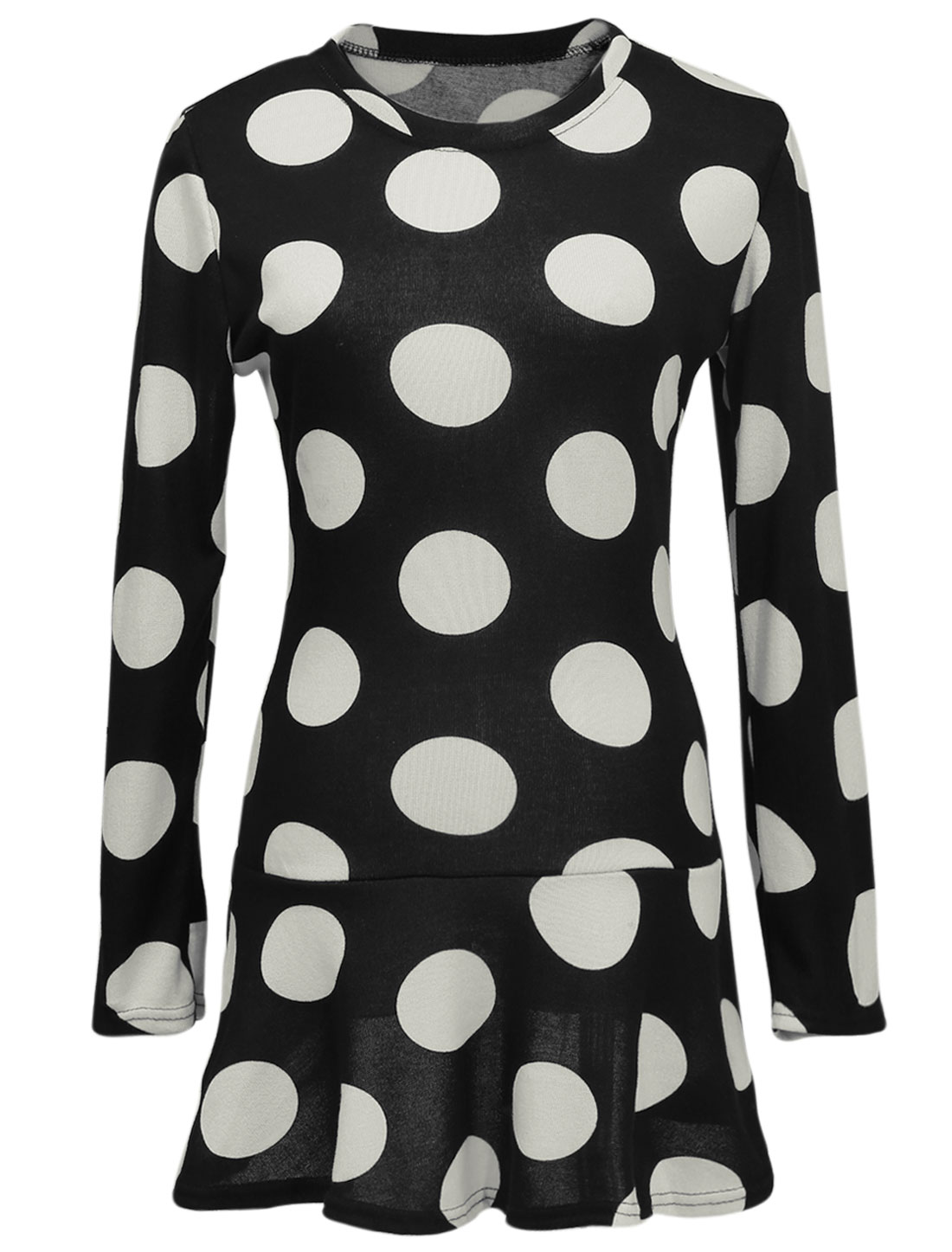 Lady Long Sleeve Round Neck Dots Pattern Ruffled Hem Dress Black M