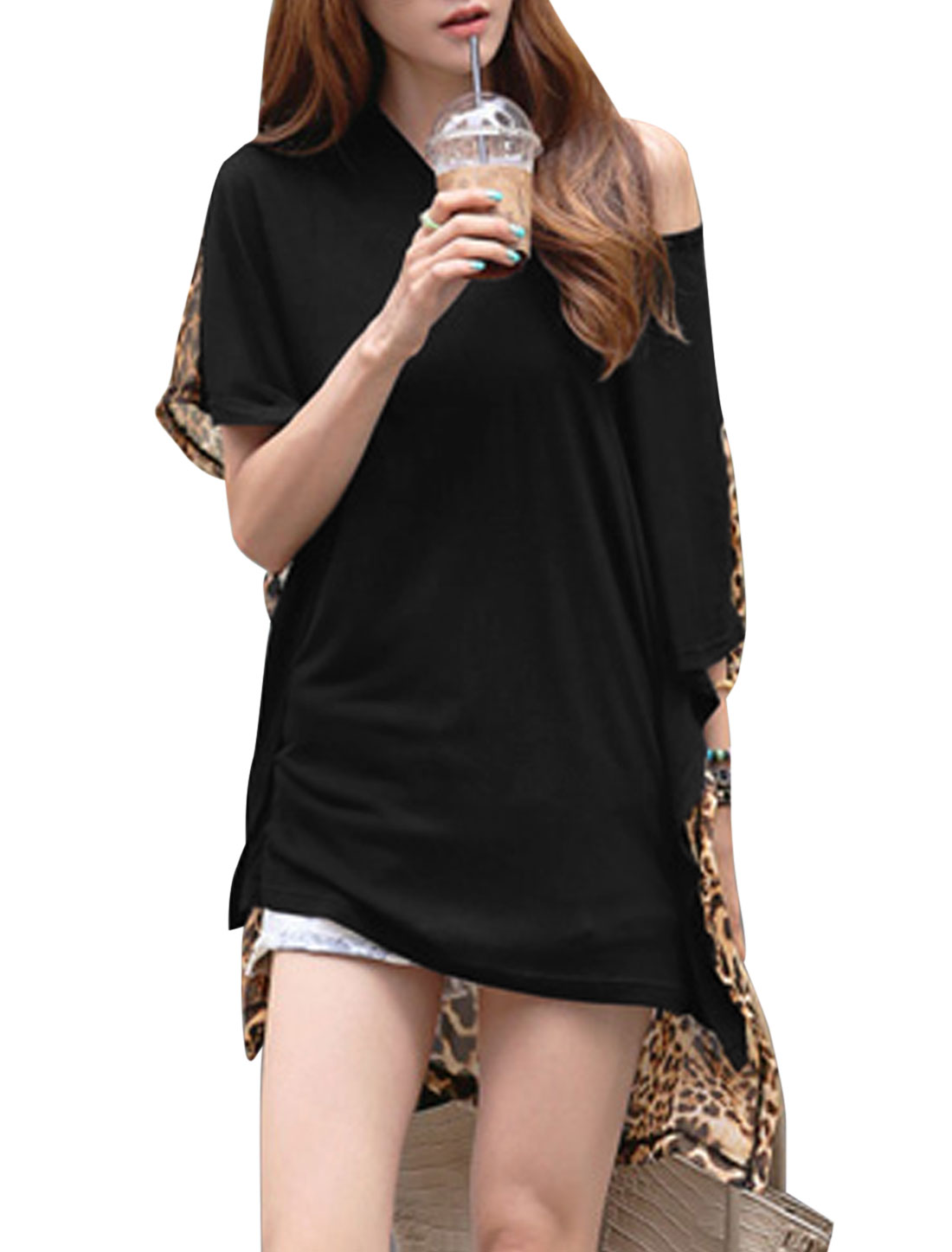 Lady Cape Sleeve Leopard Pattern Panel Casual Tunic Top Black XS