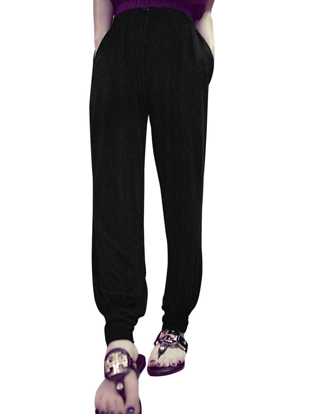 Women Fashion Style Elastic Waist Casual Pants Black XS