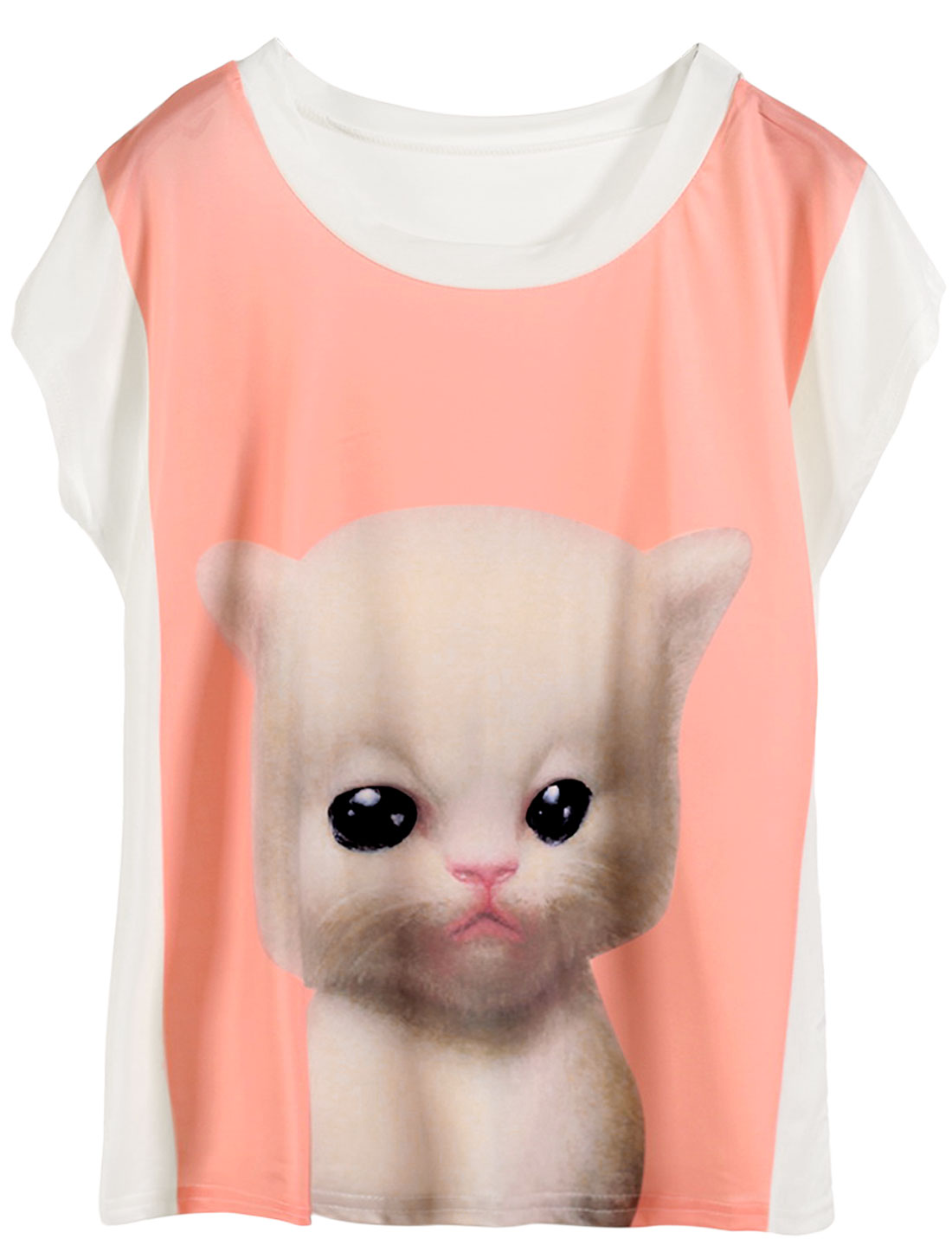 Lady Summer Fit Cat Pattern Slipover Casual Tee Shirt Coral Pink White XS