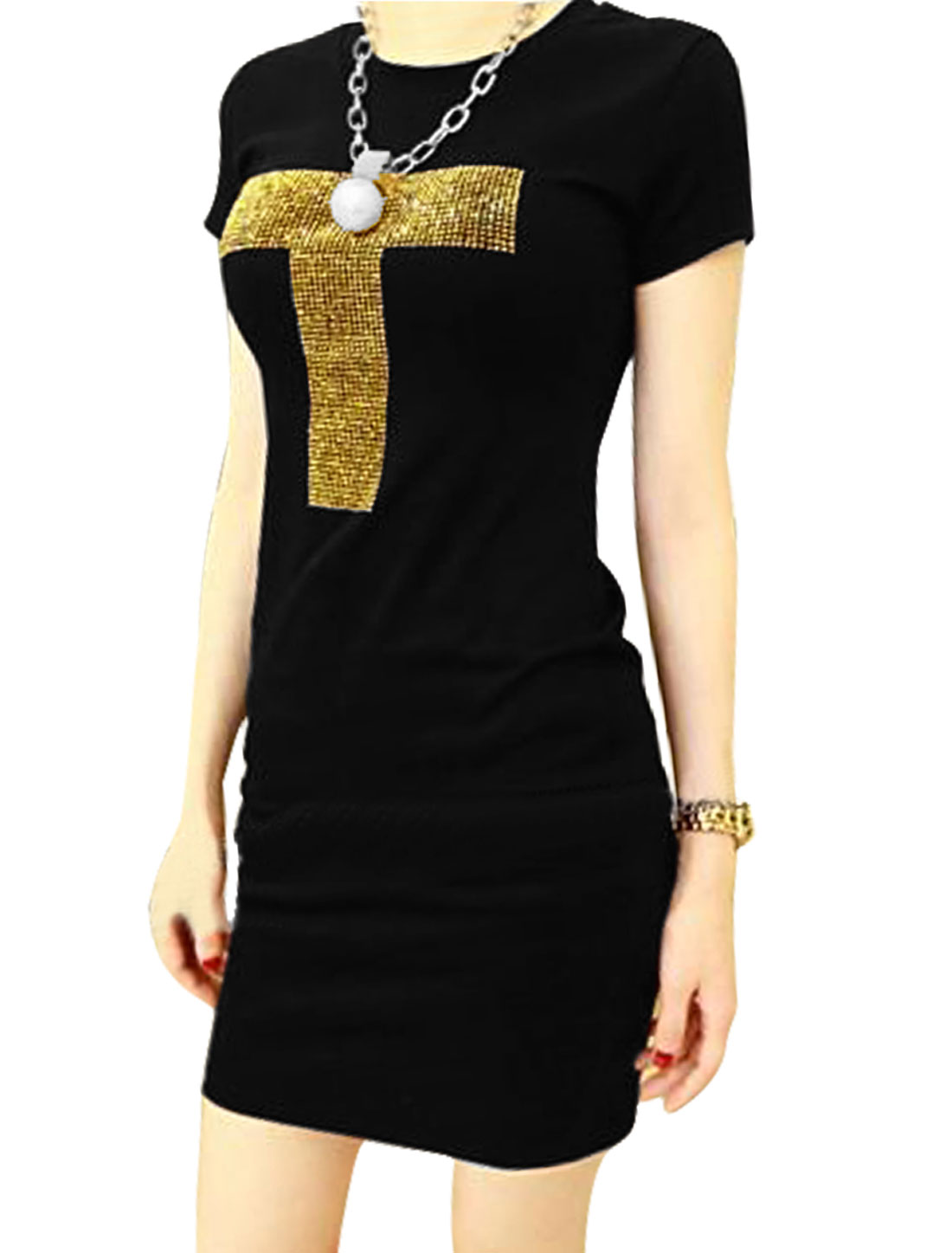 Women Round Neck Rhinestones Decor Letters Pattern Slim Short Dress Black XS