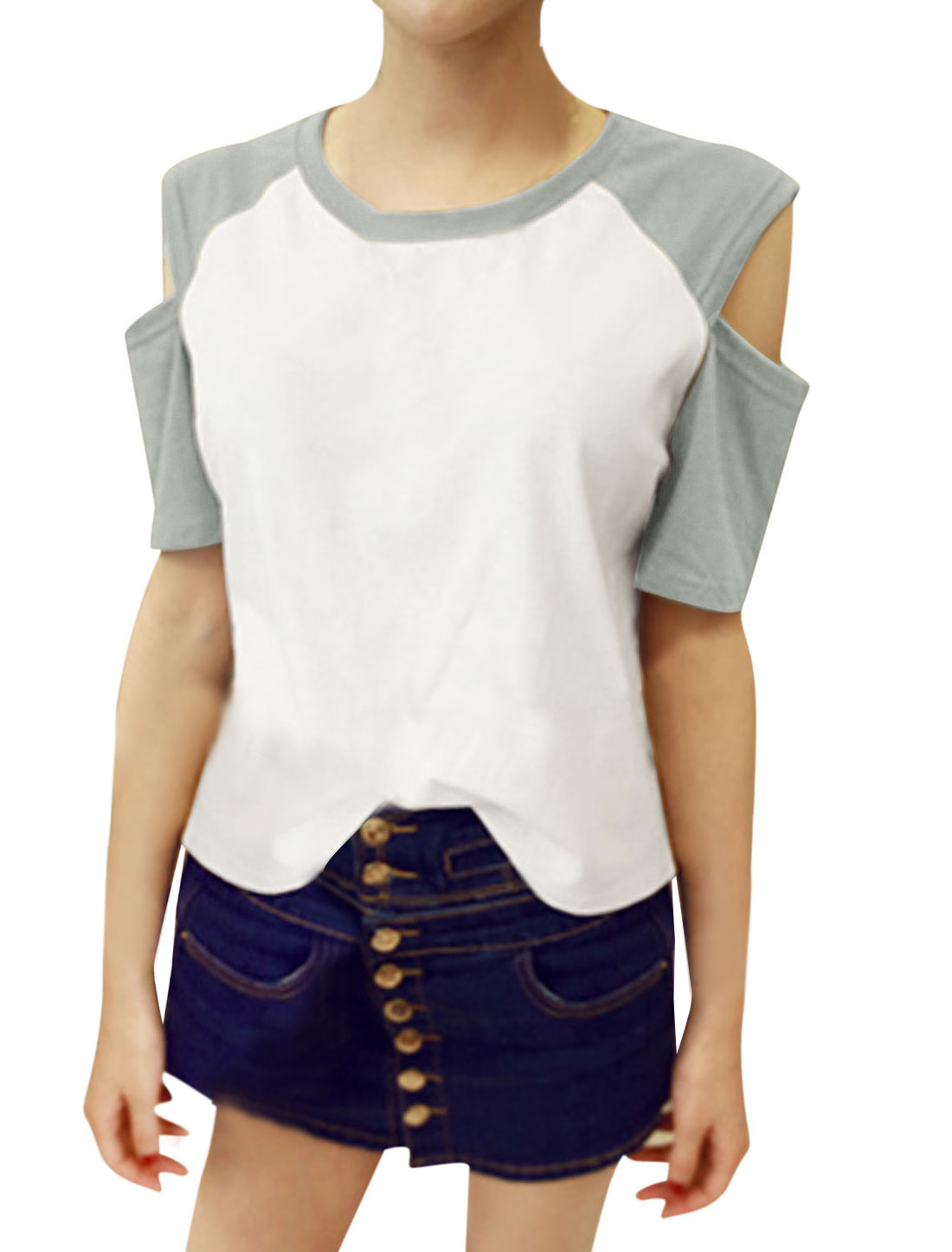 Lady Short Raglan Sleeve Color Block Cut Out Shoulder Tee Shirt Light Gray White S