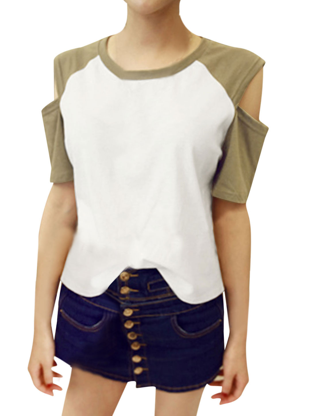 Lady Short Sleeve Round Neck Cut Out Shoulder Tee Shirt Army Green White S