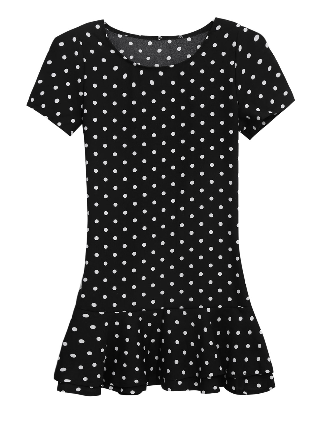 Lady Dots Pattern Short Sleeve Ruffled Hem Casual Dress Black XS