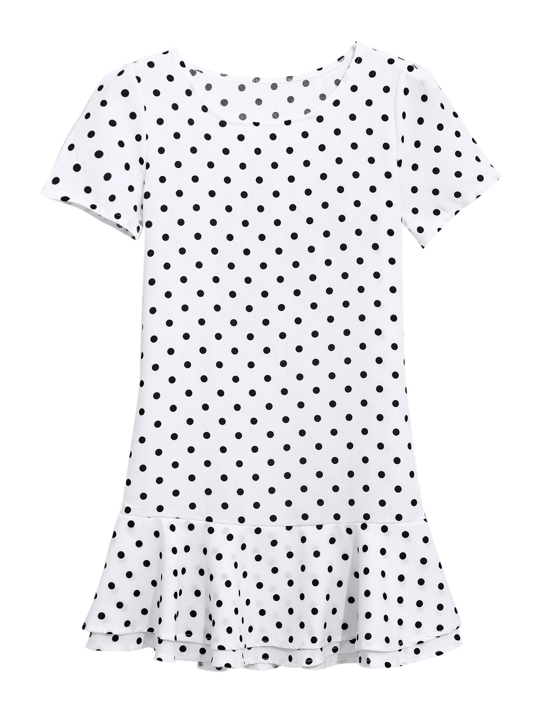 Lady Dots Pattern Short Sleeve Round Neck Casual Dress White XS