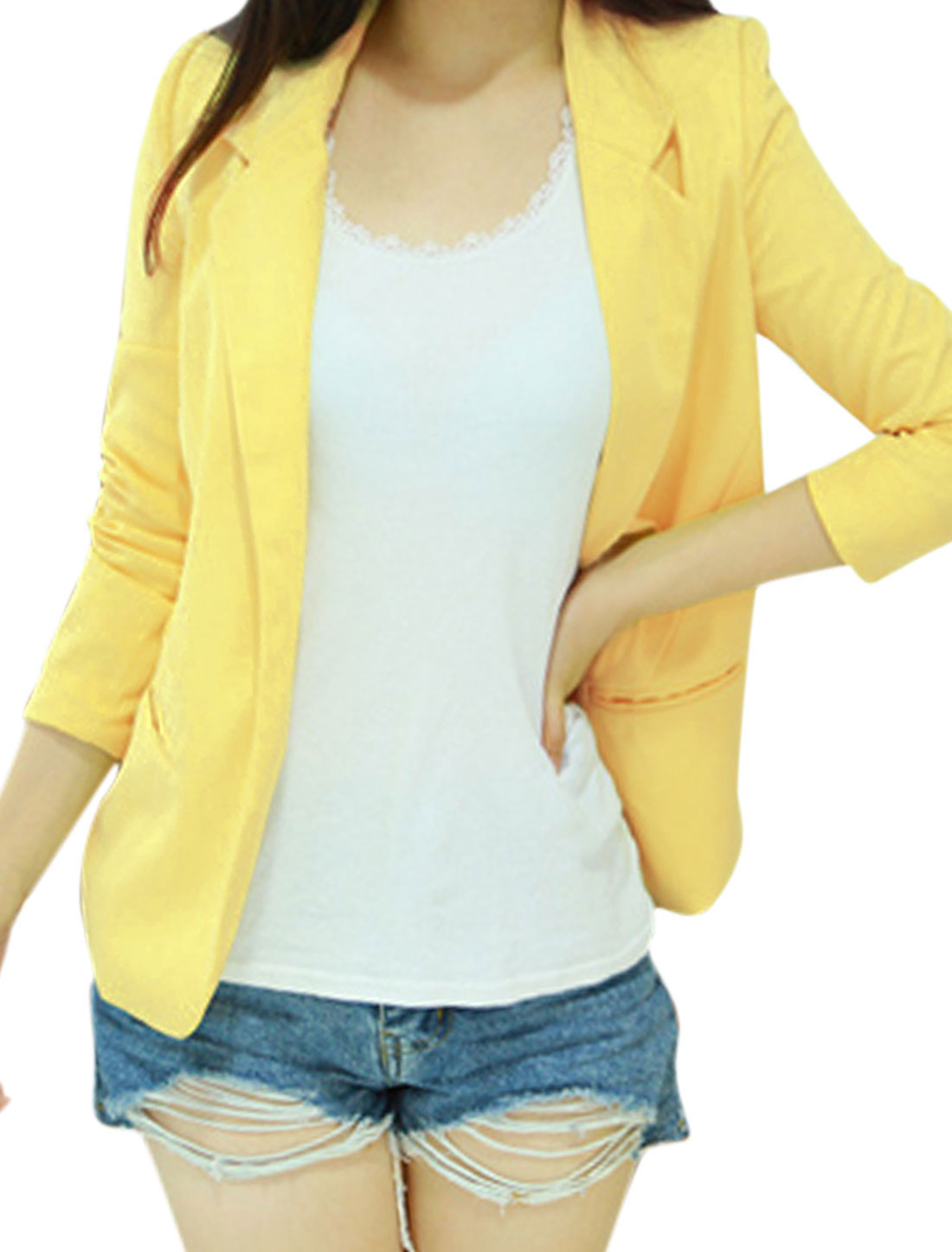 Lady Long Sleeve Notch Lapel Padded Shoulder Blazer Light Yellow M