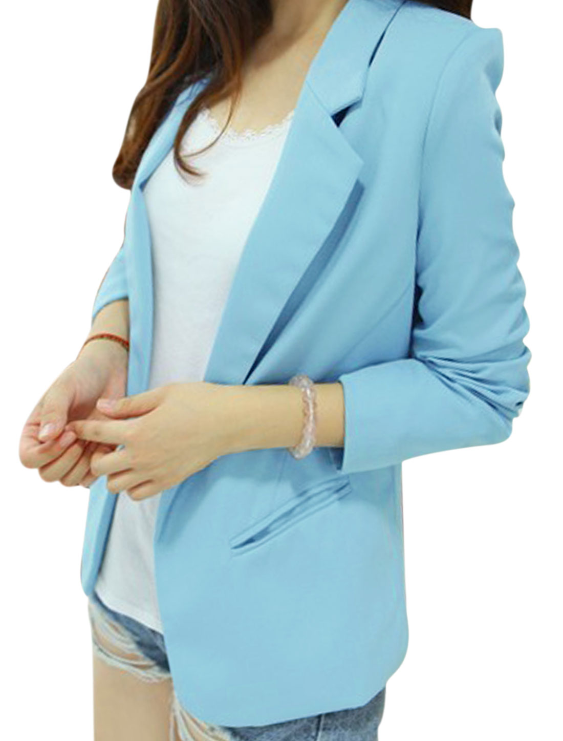 Lady Long Sleeve Notch Lapel Two Welt Pockets Blazer Sky Blue M