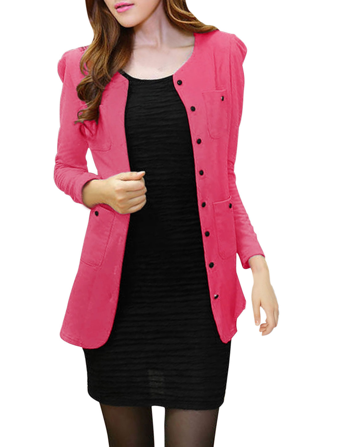 Lady Long Sleeve Two Chest Pockets Single Breasted Cardigan Fuchsia M