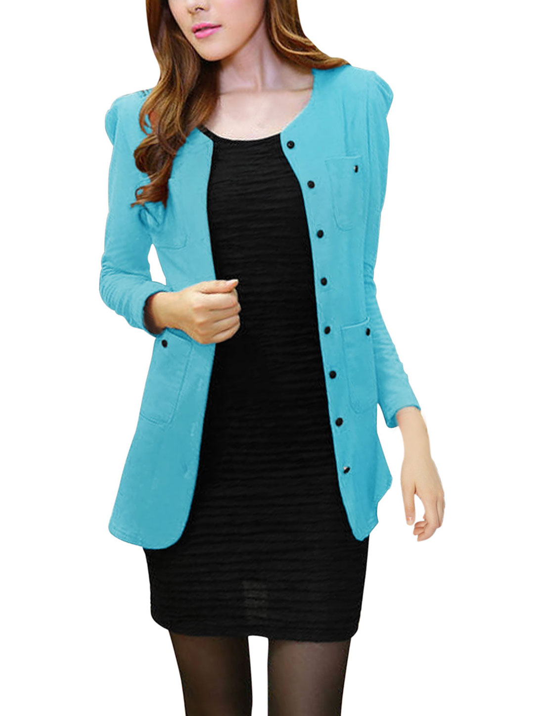 Lady Long Sleeve Two Pockets Single Breasted Cardigan Sky Blue M