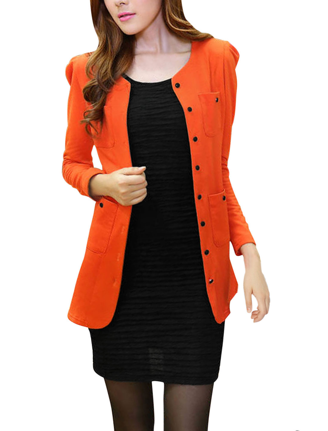 Lady Long Sleeve Two Chest Pockets Padded Shoulder Cardigan Orange M