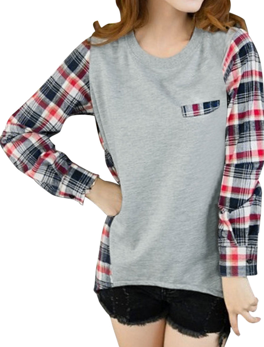 Women Stripes Plaids Pattern Spliced Asymmetric Hem Casual Top Light Gray M