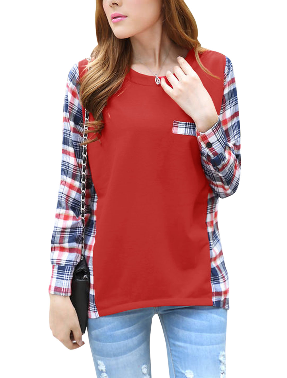 Lady Ribbed Round Neck Spliced Asymmetric Hem Casual Top Red M