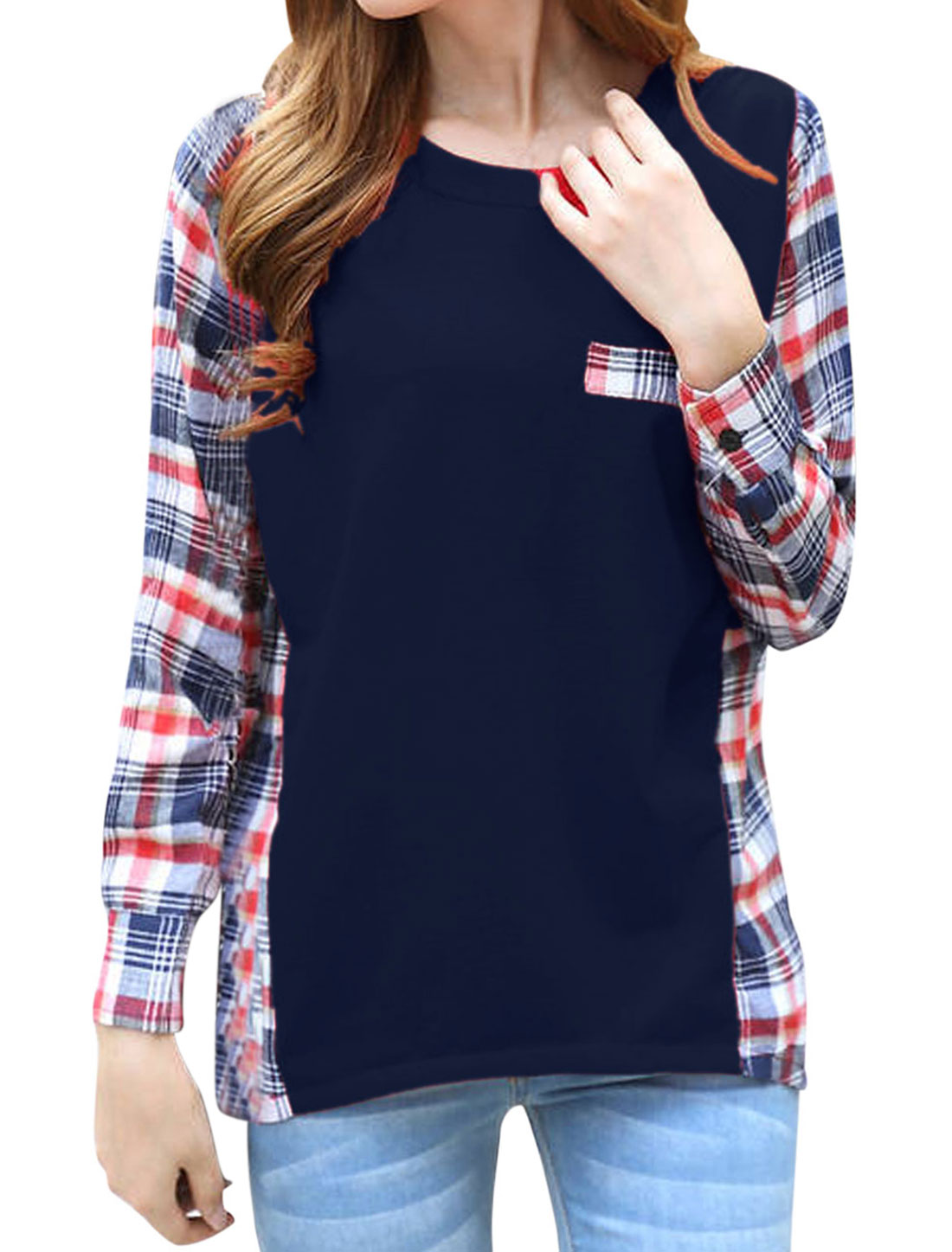 Women Splicing Stripes Plaids Pattern Slipover Casual Top Navy Blue M