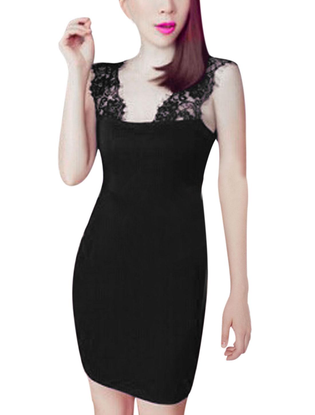 Women Lace Panel Thick Shoulder Strap Mini Stretch Dress Black S