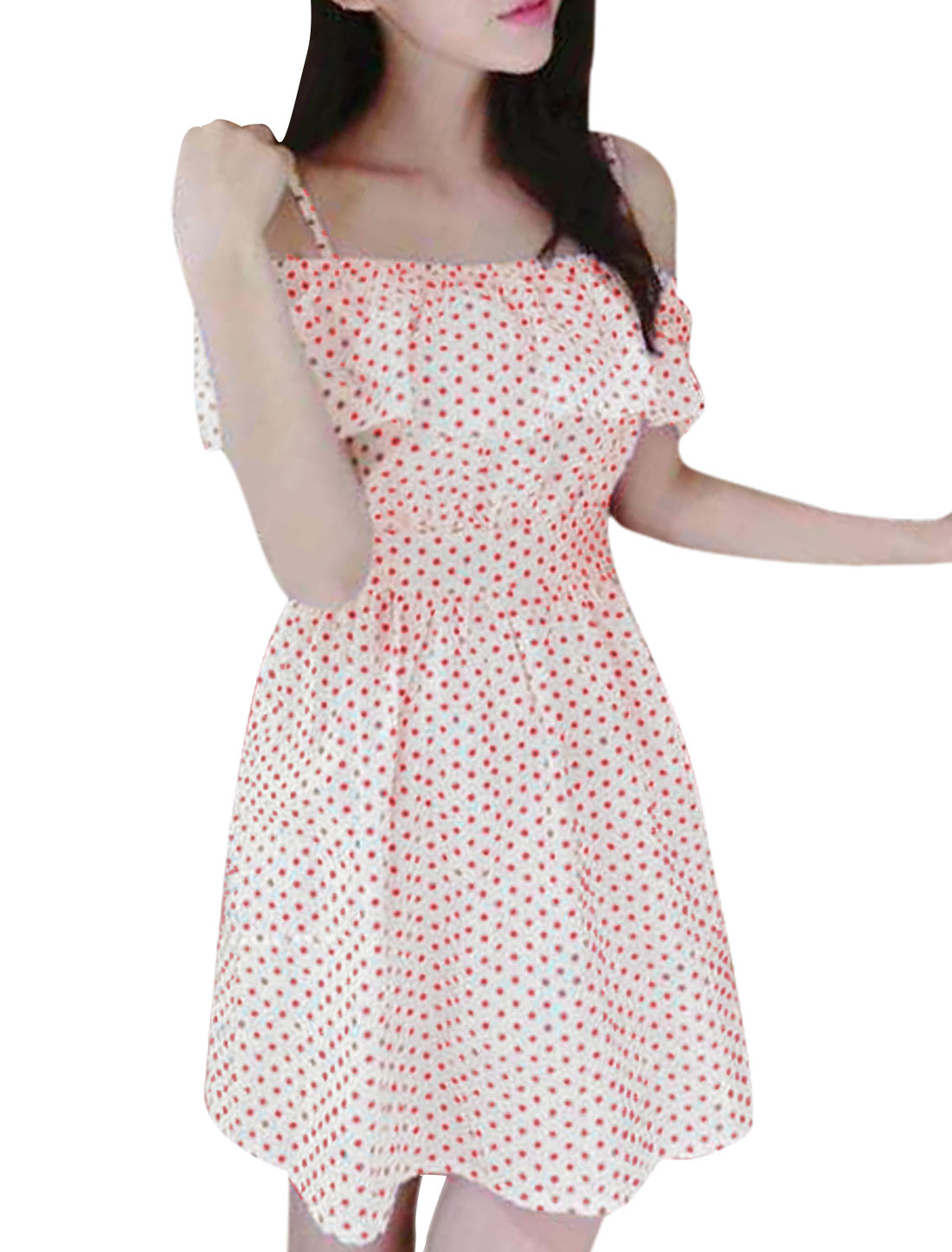 Lady Dots Pattern Flouncing Design Casual Dress Red Beige S
