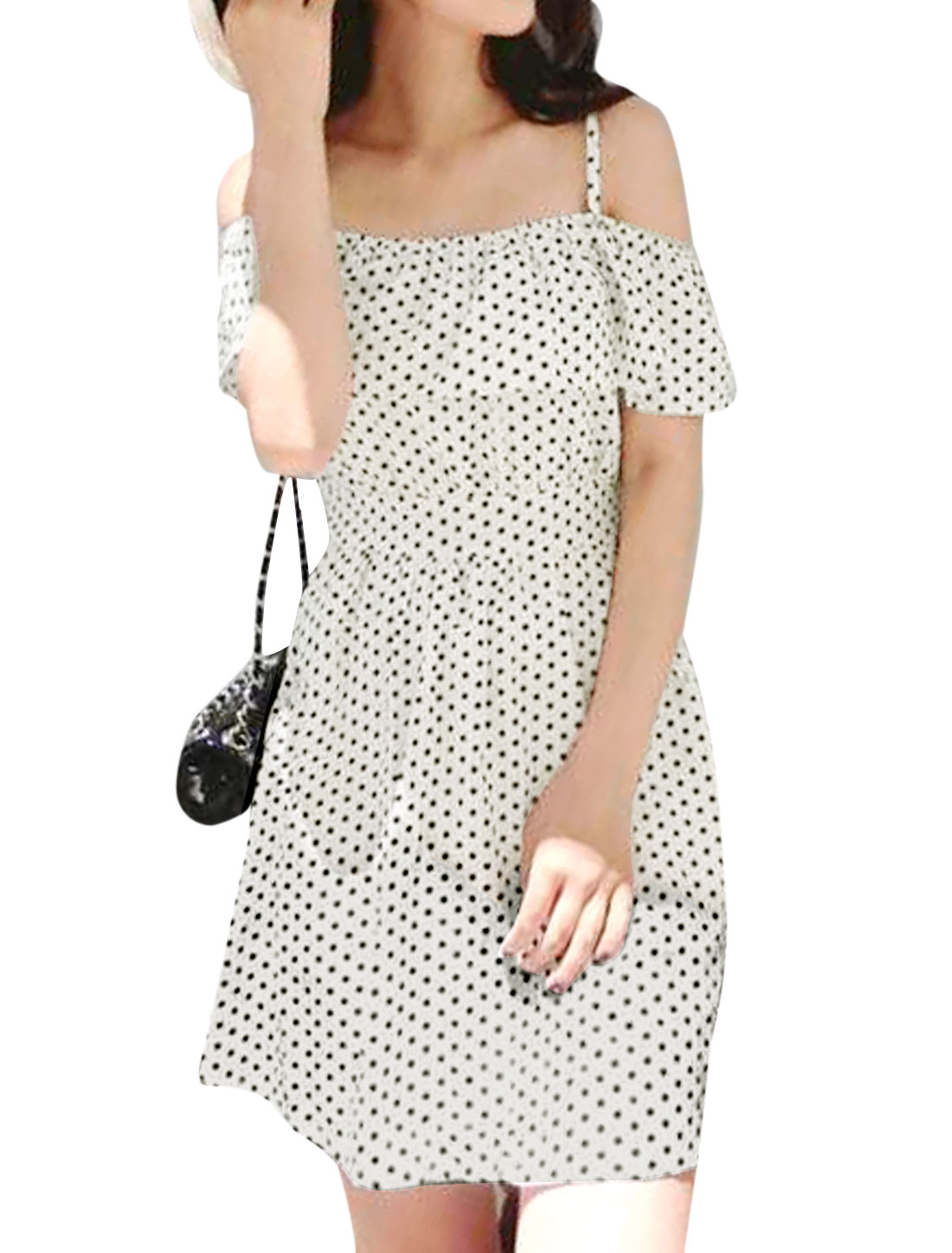 Lady Dots Pattern Side Hidden Zipper Casual Dress Black Beige S