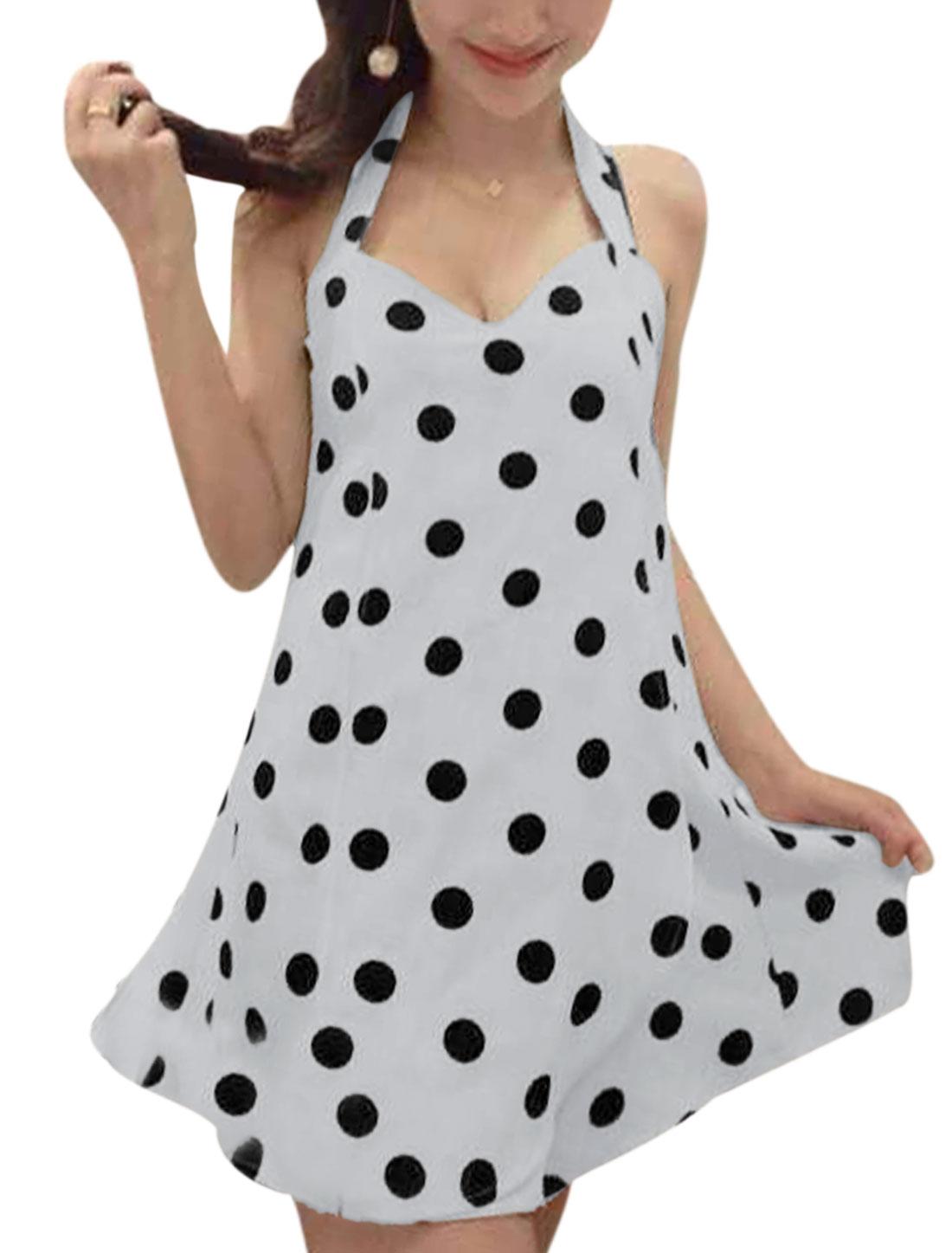 Women Elegant Dots Pattern Sexy Romper White XS