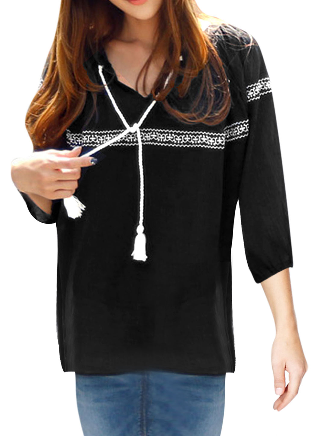 Lady Raglan Sleeve Elastic Cuffs Embroidery Detail Chiffon Shirt Black XS