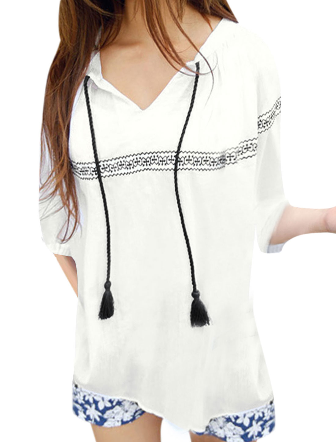 Lady Elastic Cuffs Embroidery Detail Chiffon Shirt White XS
