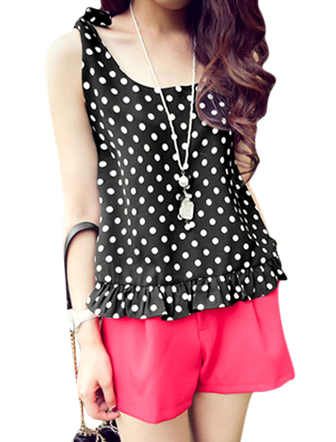 Lady Pullover Self Tie Shoulder Straps Dots Pattern Tank Top Black S
