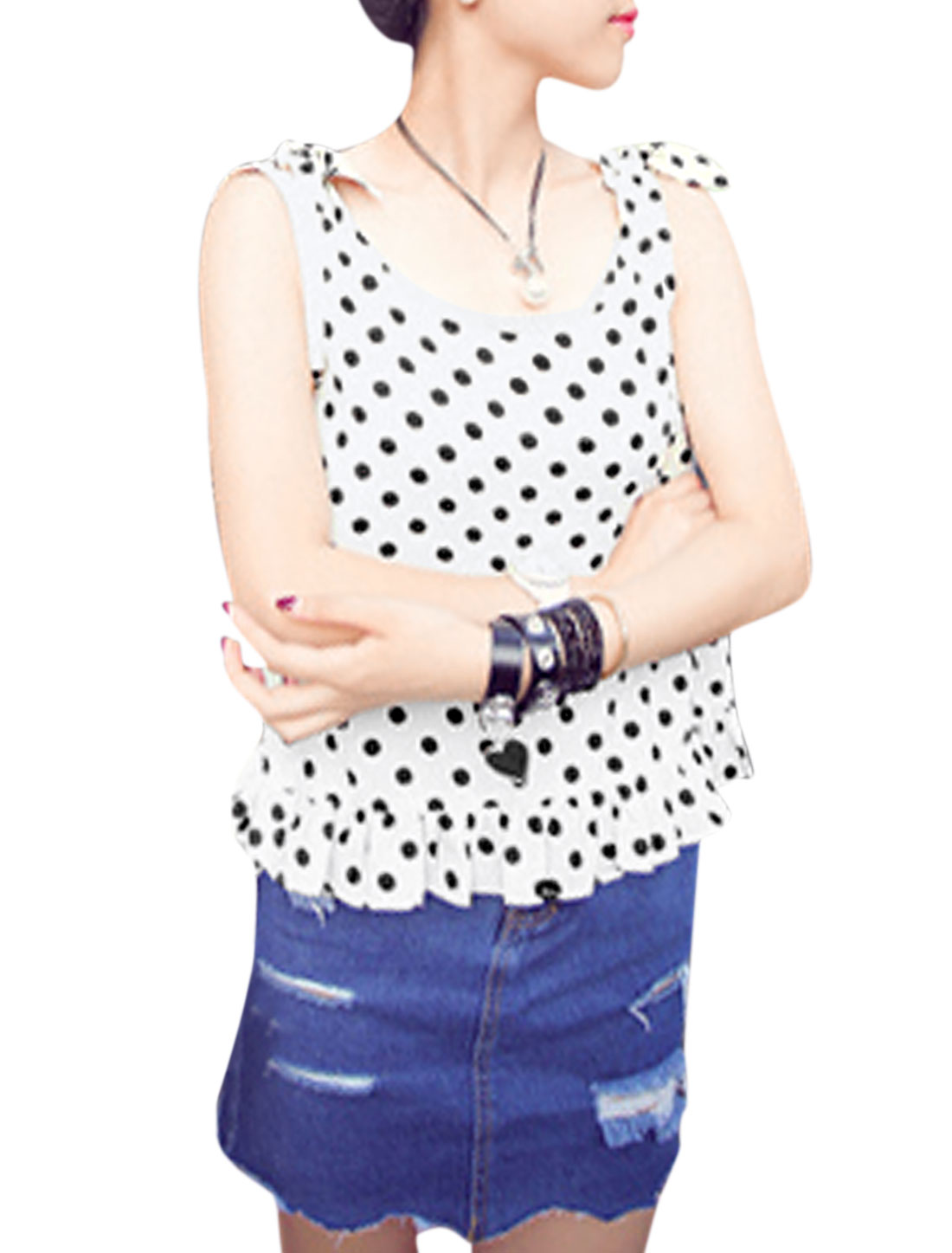 Lady Self Tie Shoulder Straps Dots Pattern Casual Tank Top White S