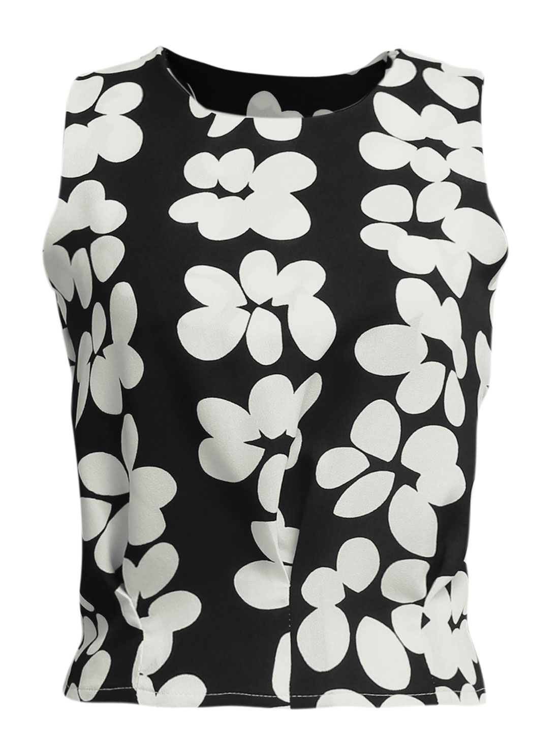 Lady Floral Pattern Side Hidden Zipper Ruched Design Casual Tank Top Black XS