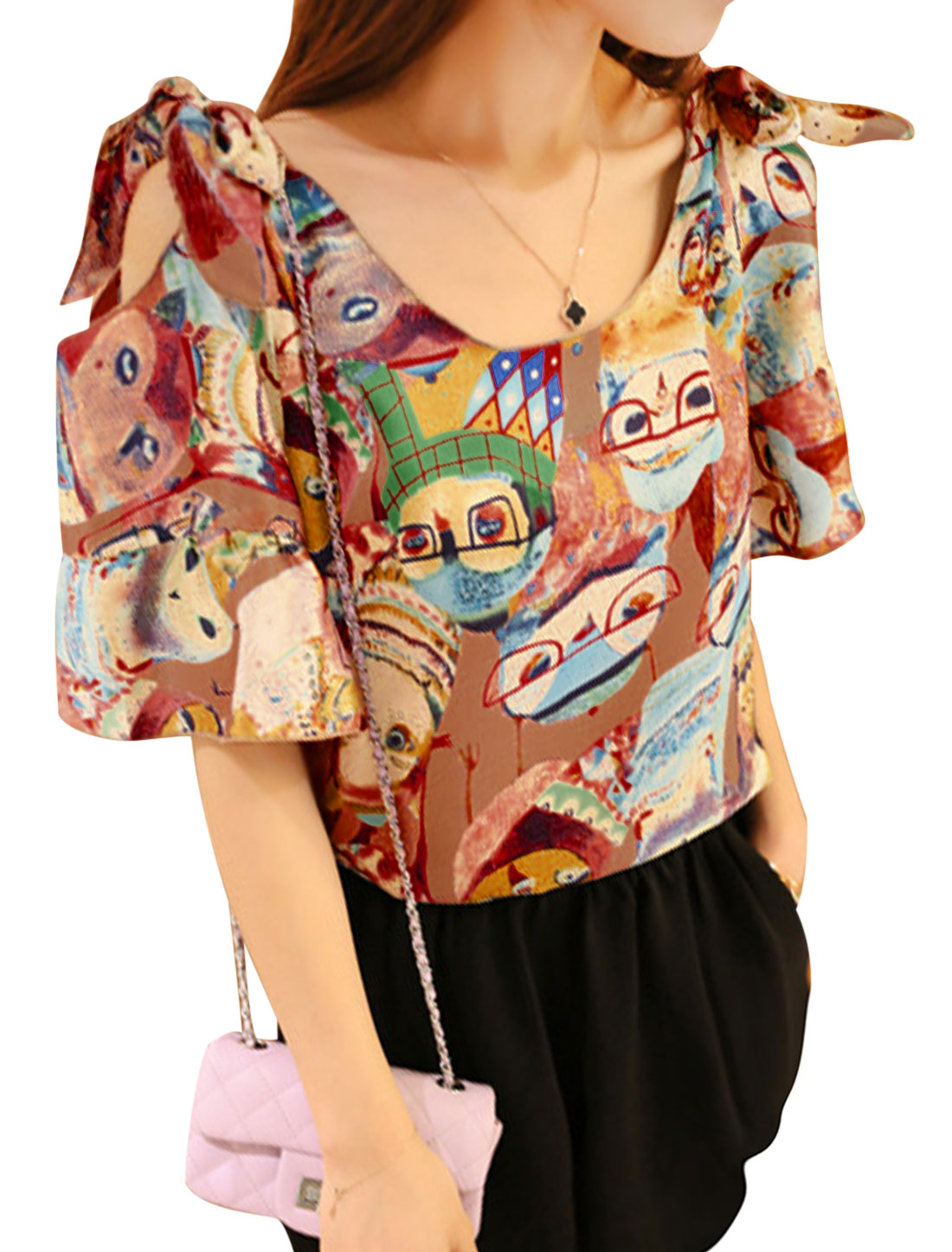 Lady Cut Out Shoulder Cartoon Animal Pattern Casual Top Brown Red M