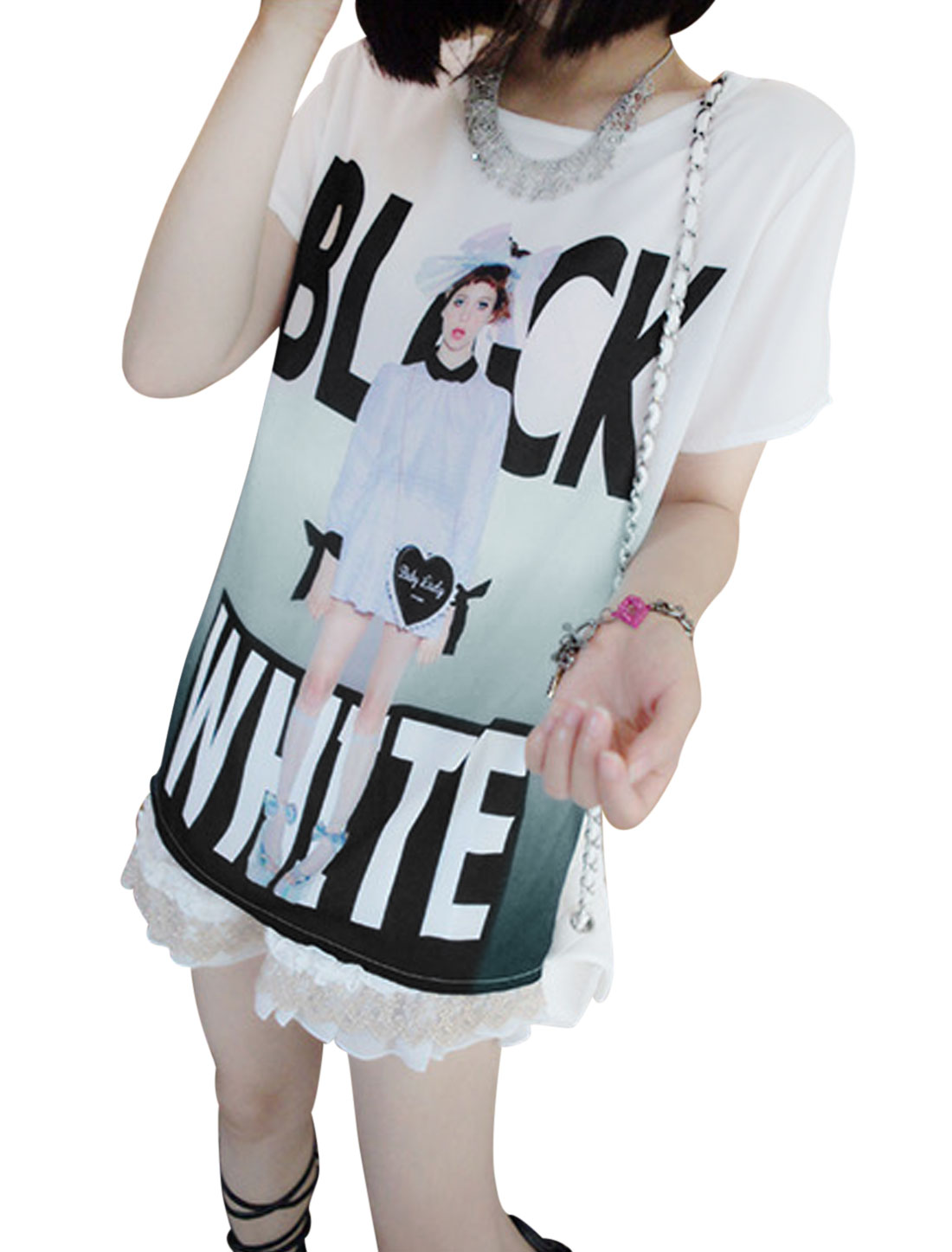Lady Short Sleeve Portrait Pattern Cozy Fit Chiffon Shirt White XS