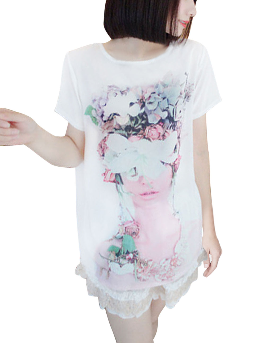 Leisure Round Neck Portrait Pattern Chiffon Shirt for Lady White XS