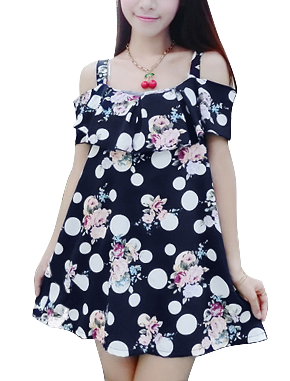 Lady Shoulder Strap Dots Floral Pattern Leisure Tunic Top Navy Blue S