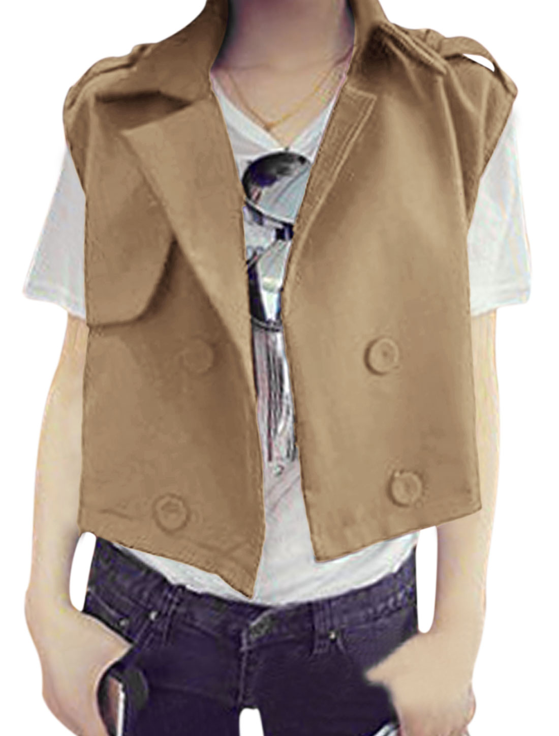 Lady Notched Lapel Double Breasted Loose Casual Vest Camel M