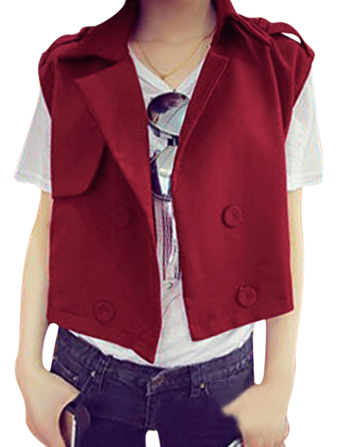 Women Fashion Style Notched Lapel Loose Casual Vest Burgundy M