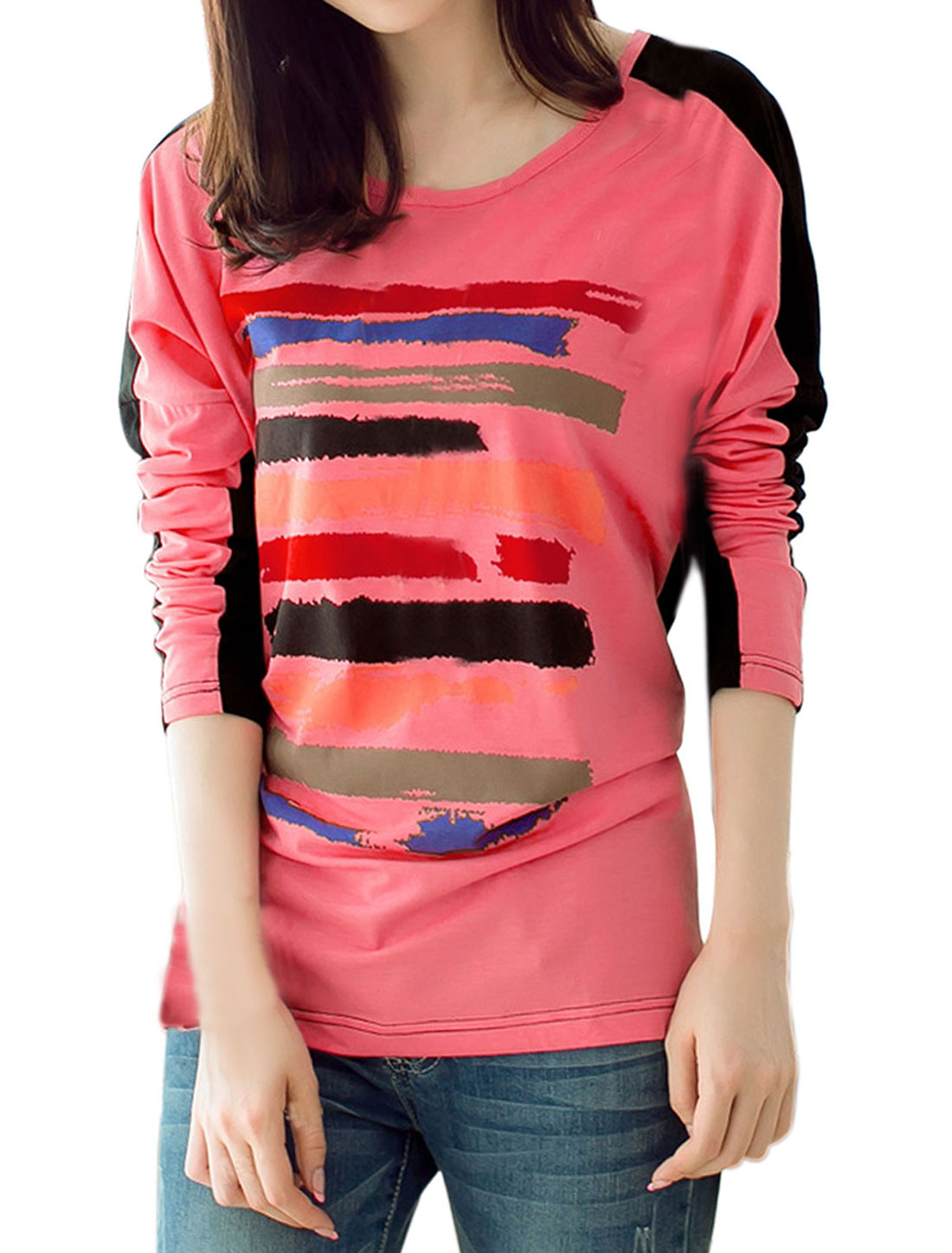 Lady Novelty Pattern Color Block Loose T-shirt Light Coral Black L