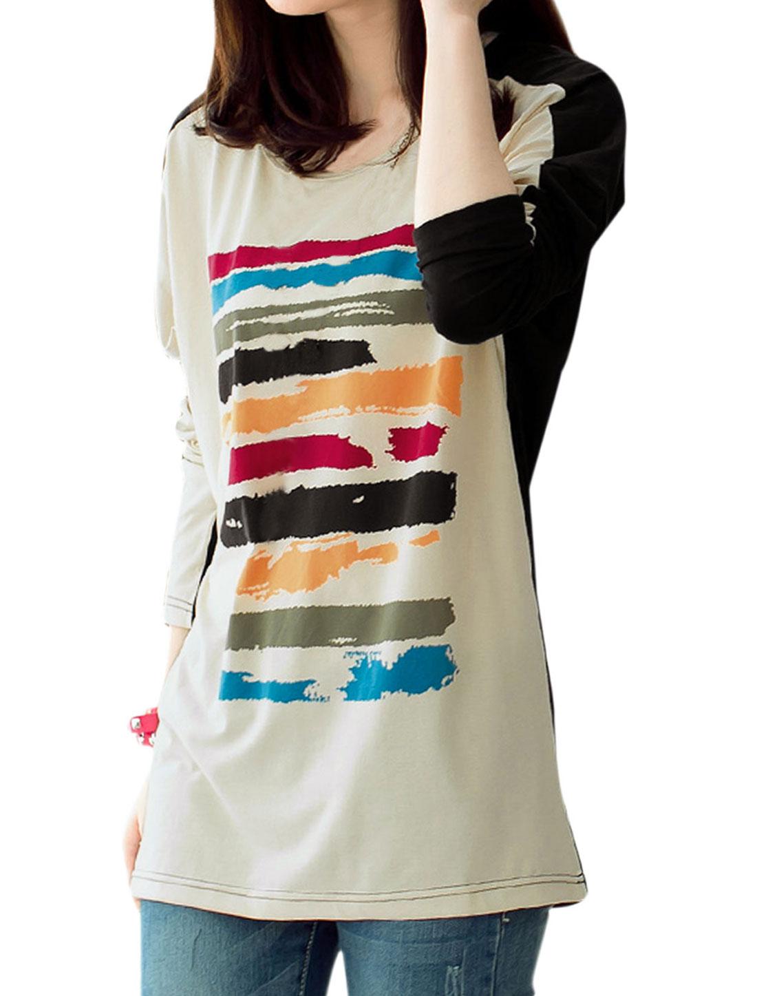 Women Slipover Cape Sleeve Novelty Pattern Loose T-shirt Beige Black L