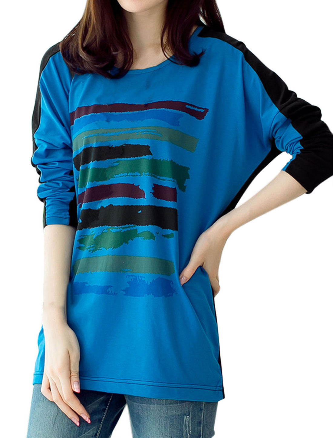 Women Novelty Pattern Batwing Sleeve Contrast Color Loose T-shirt Blue Black L