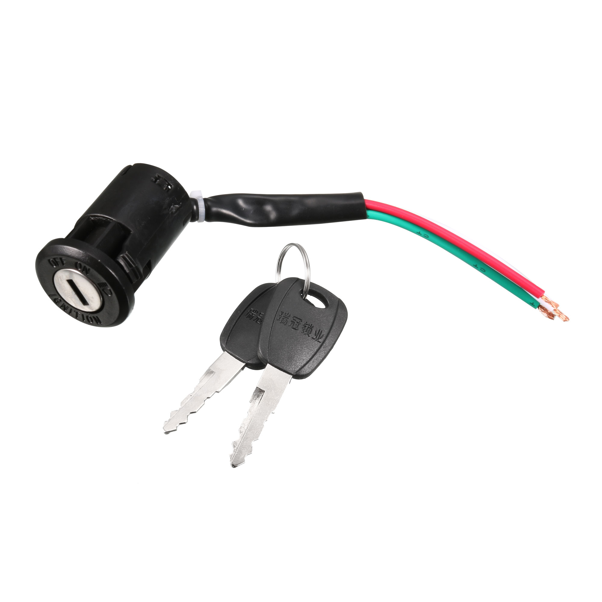 Black 3 Wired Electric Bike Bicycle Ignition Switch Lock + Two Spare Keys