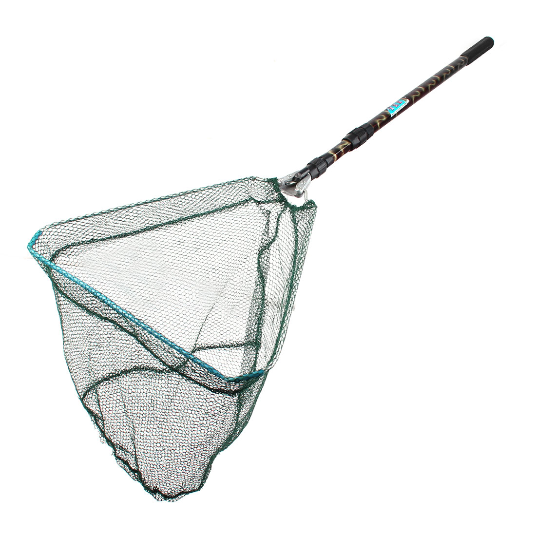 Green Nylon 6 x 6mm Hex Mesh 2 Sections Telescopic Grip Triangle Fishing Net