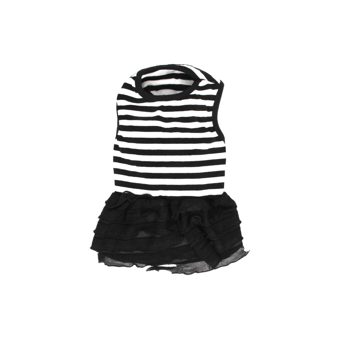 Black White Stripe Pattern Elastic Sleeveless Pet Dog Puppy Chiffon Dress Clothes Size XS