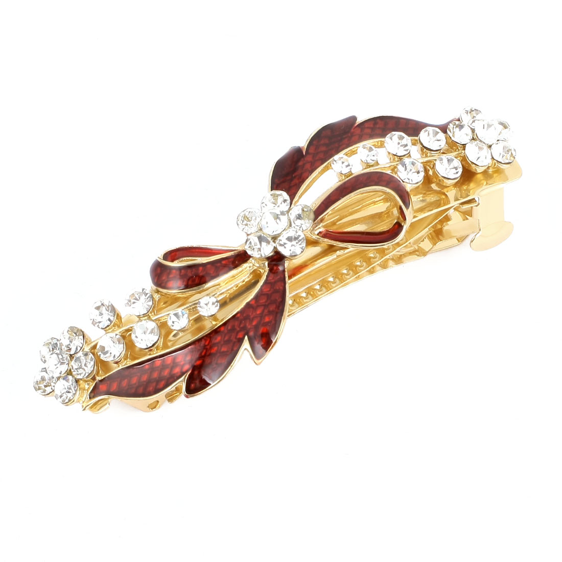 Ladies Rhinestone Accent Floral Design Hair Clip Barrette Burgundy Gold Tone