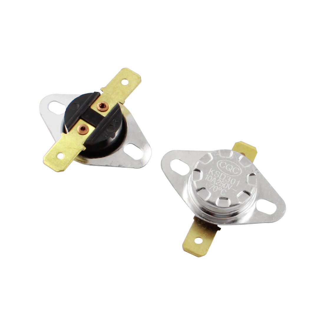 2 Pcs KSD301 AC250V 10A 70C NC Normally Closed 2 Terminal Temperature Control Switch Thermostat Sensor Protector