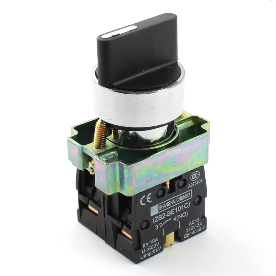 ZB2-BE101C AC 600V 10A 21mm Panel Mount DPST 2NO 3-Position Latching Rotary Selector Switch Black