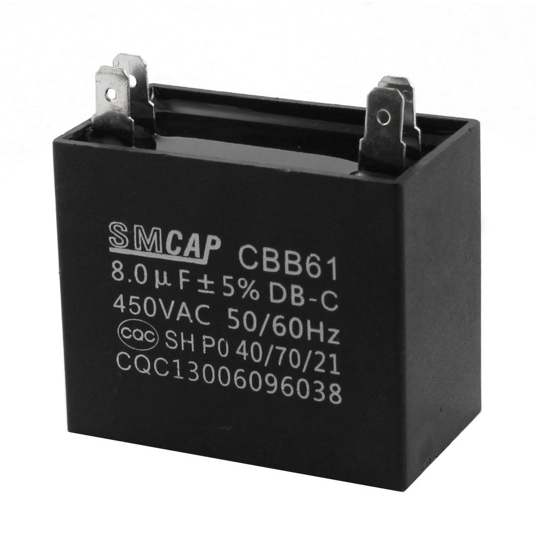 CBB61 AC450V 8uF 4Pin Black Rectangle Polypropylene Film Air Conditioner Fan Motor Running Capacitor