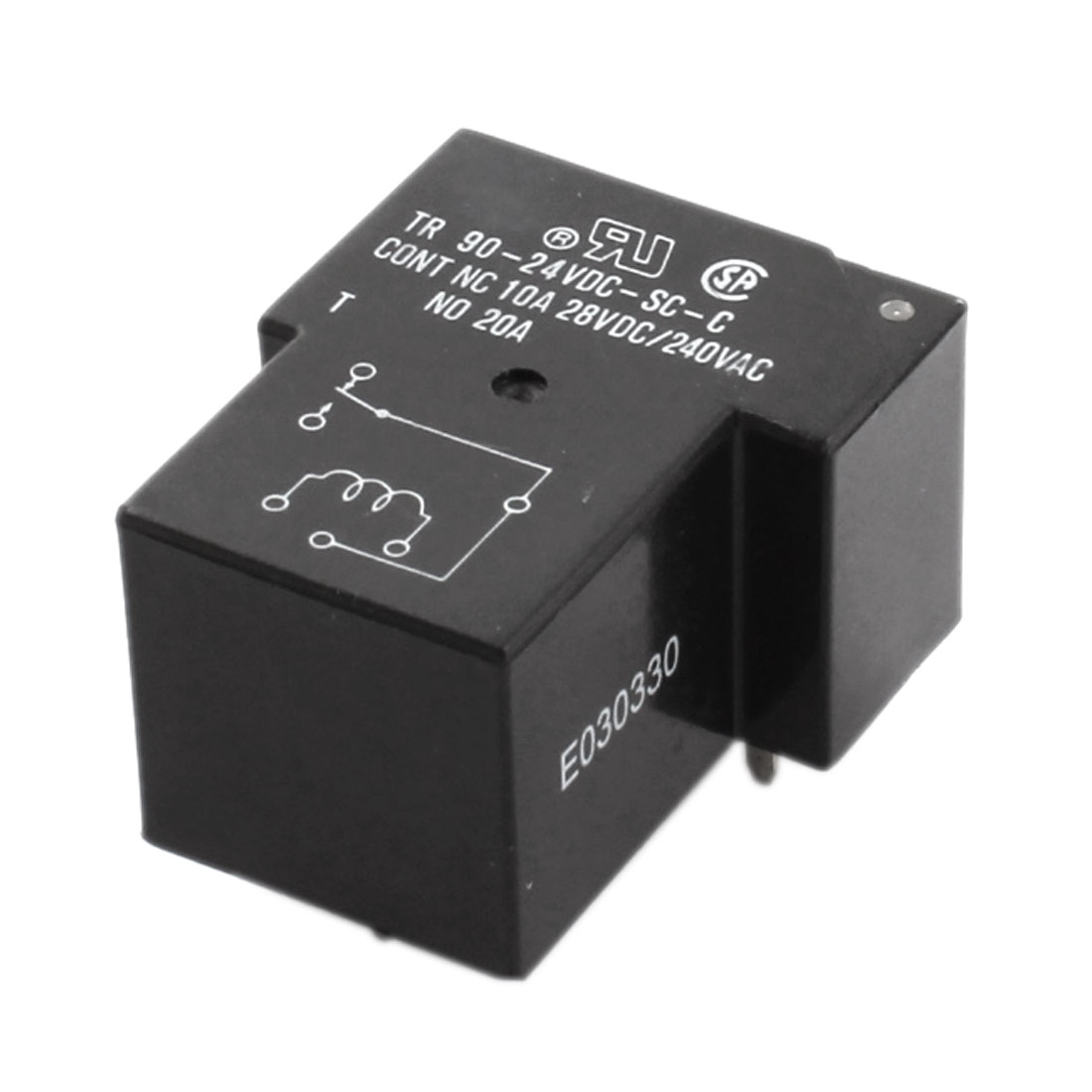 DC 24V Coil Voltage 6 Pin General Purpose PCB Mount Plug-in Type Electromagnetic Relay Black